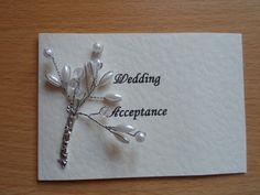 Sprigs of Pearls Wedding Invitation Acceptance by WendyLizabet, £2.00 SOLD