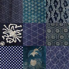 藍染傳統紋樣,從左至右,從上到下依次為:青海波、麻葉、立湧、熨斗、籠目、龜甲、市松、吉祥紋、七寶