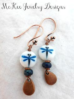 Dragonflies. Glass and metal earrings.