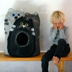 Cat bed/ cat house/cat cave/felted cat bed Trio by VaivaIndre