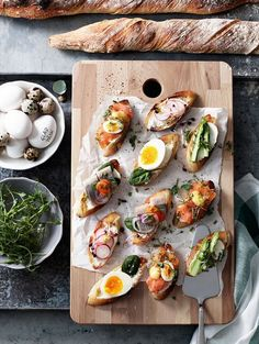 Baby open-faced sandwiches.