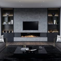 Show-stopping Modern Wall Units for your Living Room - Designer TV Wall Ideas S. - Show-stopping Modern Wall Units for your Living Room – Designer TV Wall Ideas Show-stopping Mode - Living Room Wall Units, Living Room Modern, Home Living Room, Living Room Designs, Living Room Decor, Bedroom Designs, Modern Bedroom, Fireplace Tv Wall, Living Room With Fireplace