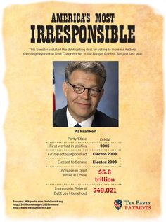 Senator Al Franken is one of the 62 senators who recently voted to increase Federal spending.