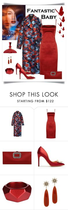 """""""Emilio Pucci Wool Jacquard Coat Look"""" by romaboots-1 ❤ liked on Polyvore featuring Emilio Pucci, D&G, Roger Vivier, Rupert Sanderson, McQ by Alexander McQueen and Christina Debs"""