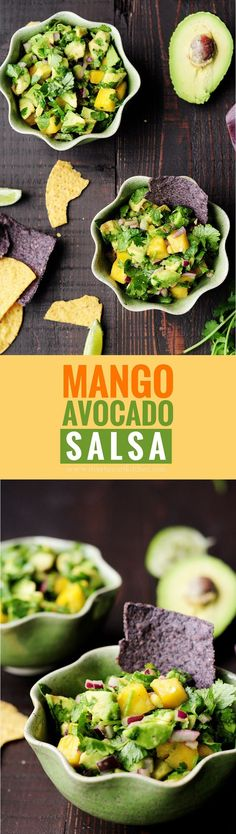 Refreshingly tasty mango avocado salsa that's a crowd-pleasing snack or appetizer with tortilla chips and it's amazing as a topping for seafood. #glutenfree #vegan #salsa