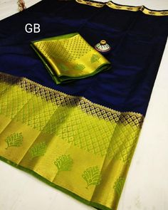 *999+  READY TO DESPATCH*  INTRODUCING RAW SILK EXCLUSIVE LEAF DESIGN CONTRAST BORDER N PALLU N CONTRAST BLOUSE  Singles 999+{$} For Orders…