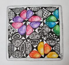 Hump Day Zentangle Challenge Pick a Tangle As Your String Tangled Flower, Lighthouse Art, Stormy Night, Prismacolor, Colored Pencils, Zentangle, Challenges, Day, Products