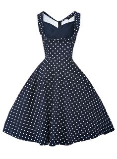 d006cc019399 Anni Coco Women's Polka Dot 1950s Vintage Swing Dresses X-Large Blue  Pleated Bodice,