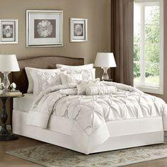 Laurel White Seven Piece Queen Comforter Set Madison Park Comforter Set Comforter Sets Bed