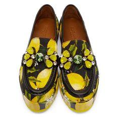 Dolce & Gabbana Women's Black & Yellow Embellished Lemons Loafers
