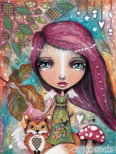 art journal mixed media inspiration This is a fine art print of a mixed media piece of art by Tamara Laporte () Print comes without URL (watermark) Print is: Mixed Media Faces, Mixed Media Art, Lynda Barry, Fox Art, Fairy Art, Art Journal Inspiration, Whimsical Art, Portrait Art, Medium Art