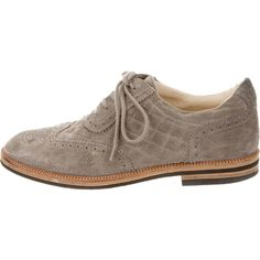 Pre-owned Chanel Quilted Suede Oxfords