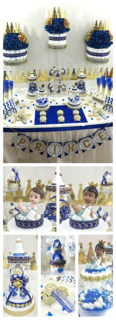 Royal Prince Baby Shower Candy Buffet in Royal Blue and Gold Colors. Perfect For Royal Prince Baby Shower Theme and Decorations