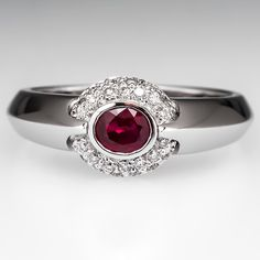 Low Profile Ruby Diamond Halo Engagement Ring 18K White Gold