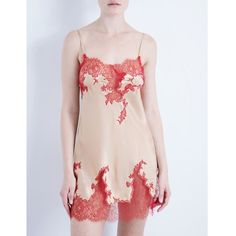 Marjolaine Baccarat silk-satin nightdress ($290) ❤ liked on Polyvore featuring intimates, floral lingerie and frilly lingerie