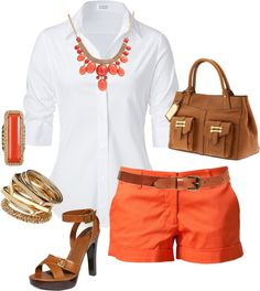 Love the coral, tan, and white <3