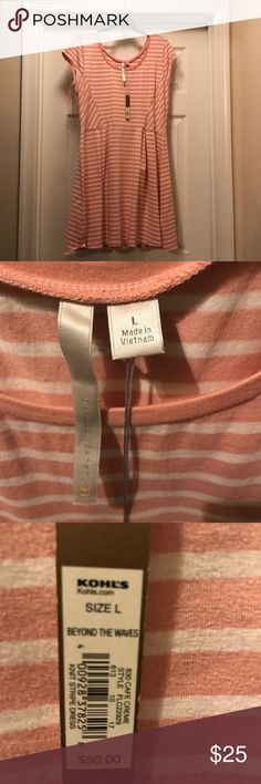 Lauren Conrad dress Pink and white stripped dress Brand new Large LC Lauren Conrad Dresses Asymmetrical