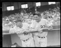 Boston Braves manager Casey Stengel and Boston Brave Al Javery, Boston 1942.