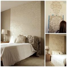 Large Fabric damask stenciled as a panel behind bed.