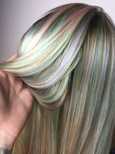 Pastel opalescent rainbow hair color