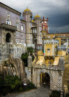 Pena Palace, Sintra, Portugal - my favourite castle, a piece of art; it served as a summer retreat for Portegese monarchs in and century. Sintra Portugal, Spain And Portugal, Portugal Travel, Visit Portugal, Places Around The World, Oh The Places You'll Go, Places To Travel, Places To Visit, Around The Worlds