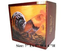 Wooden  Cigar Box  w/ Artworks Oil Painting on Top. Best Cuban Art by Daysi