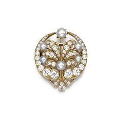 Pearl and diamond brooch, circa 1880. photo Sotheby's