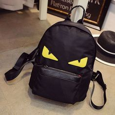 Men And Women Famous Brand Demon Eyes Monster Backpack Fashion Nylon Schoolbag For Teenagers Institute Wind Backpack