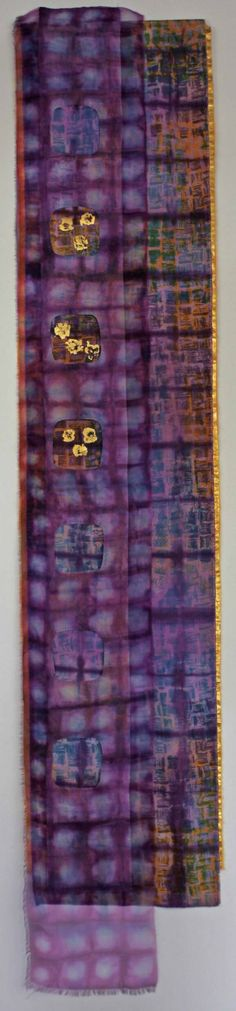 Laura Anne Beehler, Reveled, 17 x 86 inches, silk broadcloth, silk organza, MX dye, gold leafing