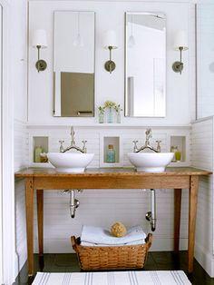 farm table vanity, double vanity, reclaimed wood, Country-Style Open Vanity - traditional - bathroom - other metro