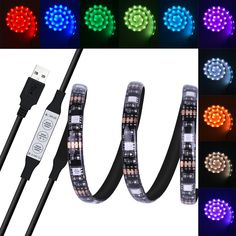 USB LED Light Strip, Costech 5050 RGB LED Light 20 Color Selection 1M(3Ft) TV Background Lighting Adhesive Tape Dust and Humidity Proof Built-in Controller for TV LCD, Monitors
