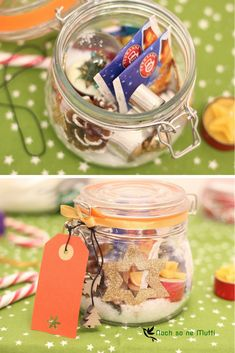 DIY für die Adventszeit – Advent im Glas Gift in the glass for the Christmas time. A quick and easy DIY gift idea. Advent in the glass is a creative gift idea for Advent and Christmas. Easy Diy Gifts, Creative Gifts, Diy Gifts For Boyfriend Just Because, Christmas Time, Christmas Gifts, Christmas Decor, Christmas Wreaths, Advent Season, Navidad Diy