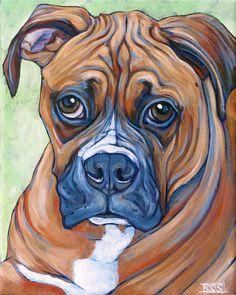 Harvey the Boxer Dog Custom Pet Portrait Painting in Acrylic Paint on Canvas