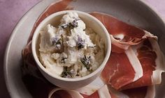 Chilled out: goat's cheese ice cream with air-dried ham.