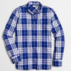J.Crew plaid popover PRICE FIRM. Cotton. Long sleeves. Button placket. Machine wash. Runs large, from j.crew factory. 🚫No trades. All sales final. J. Crew Tops Button Down Shirts