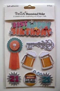 Bella Dimensional Stickers 21st Birthday VM314 Twenty First 9 Pieces