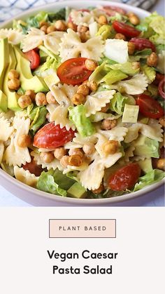 This summer plant-based pasta salad is full of classic caesar salad ingredients, plus crunchy chickpeas, ripe tomatoes & a flavorful vegan caesar dressing. This vegan recipe will be your new favorite picnic dish and barbecue side for summer!