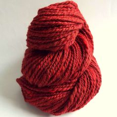 Rick ruby red and scarlet, merino and silk wool. Bulky handspun merino and silk yarn  by thefibretree