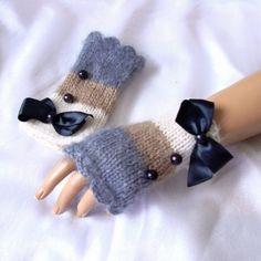 fingerless mittens, fingerless knit gloves with bow, black gray beige knit gloves, bow gloves, knit bow gloves