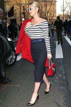 Nicky Hilton sports navy stripes, arrives at the Oscar De La Renta New York Fashion Week - February 12, 2018