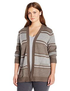 Jason Maxwell Women's Plus Size L/s Stripe Boyfriend Cardigan Sweater