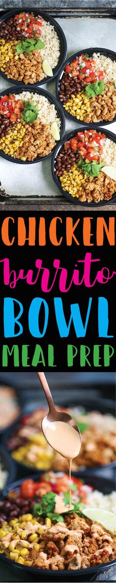 Chicken Burrito Bowl Meal Prep - Think of this as healthier (and cheaper!) Chipotle bowls that you can have all week long. Save time and calories here!!! Lunch Meal Prep, Healthy Lunch Meals, Meal Prep Freezer, Meal Prep Recipes, Healthy Burritos, Tacos And Burritos, Healthy Menu, Healthy Meal Prep, Lunch Recipes