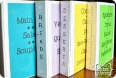 How to organize YOUR recipes into these different books