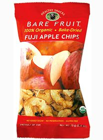 """I love apple chips but don't like the fact that many brands have the calories of potato chips! Then I came across """"Healthy Snacks Bare Fruit"""".The only ingredient in the bag is apples! They are only 90 calories for 1.1 ounces and taste amazing! They are organic and come in several different flavors: cinnamon apple, granny apple and fuji apple. So, if your looking for a healthy snack to eat between meals or as a light dessert try Healthy Snacks Bare Fruit!"""