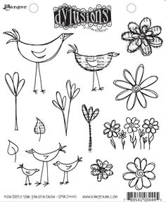 Dyan Reaveley's Dylusions Stamp Set - How Does Your Garden Grow. $15.00, via Etsy.