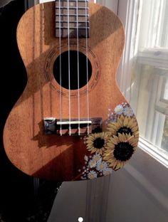 Then my incredibly popular ukulele home-study course is perfect for you. Arte Do Ukulele, Ukulele Chords, Guitar Painting, Guitar Art, Ukelele Painted, Ukulele Songs Beginner, Ukulele Design, Sunflower Drawing, Tumblr Art