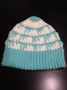 Here is my Spiked Mint Hat pattern, a beanie style hat worked from the bottom up for an adult size.
