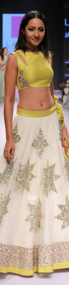 yellow and white lengha