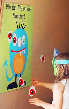 Monster party - adopt a monster! Pin the eye on the monster party game with monster mask blindfold! Colorful Monster Party via KarasPartyIde. Monster 1st Birthdays, Monster Birthday Parties, First Birthday Parties, First Birthdays, Birthday Ideas, Birthday Bash, Monster Party Games, Kids Party Games, Party Activities