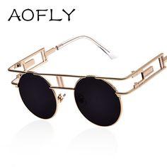 25de0ef1798 AOFLY Fashion Metal Frame Steampunk Sunglasses Women Brand Designer Unique  Men Gothic Sun glasses Vintage Oculos